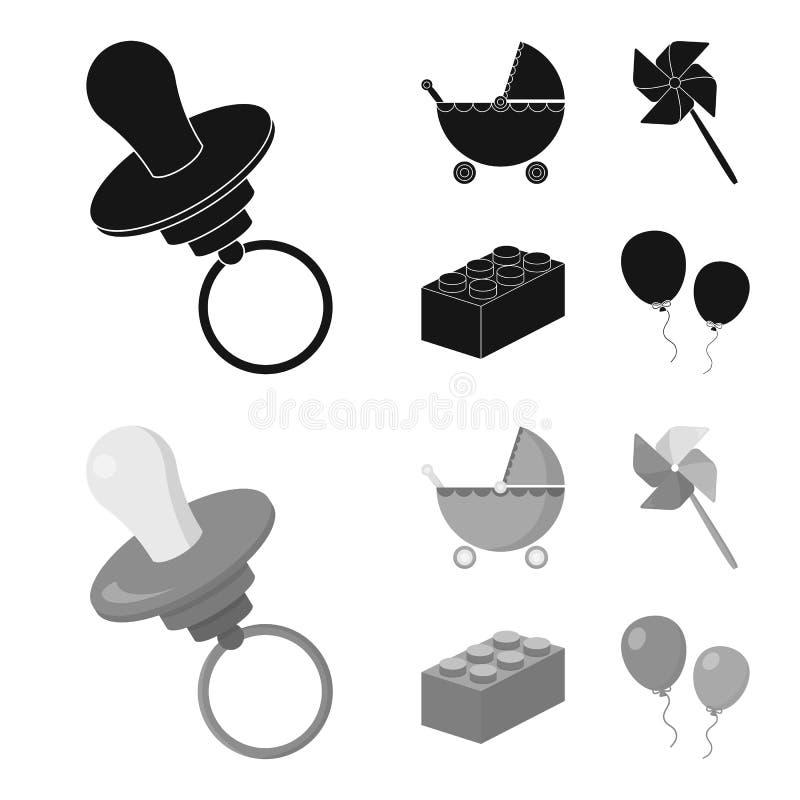Wandelwagen, windmolen, lego, ballons Speelgoed geplaatst inzamelingspictogrammen in zwarte, monochrom de voorraadillustratie van vector illustratie