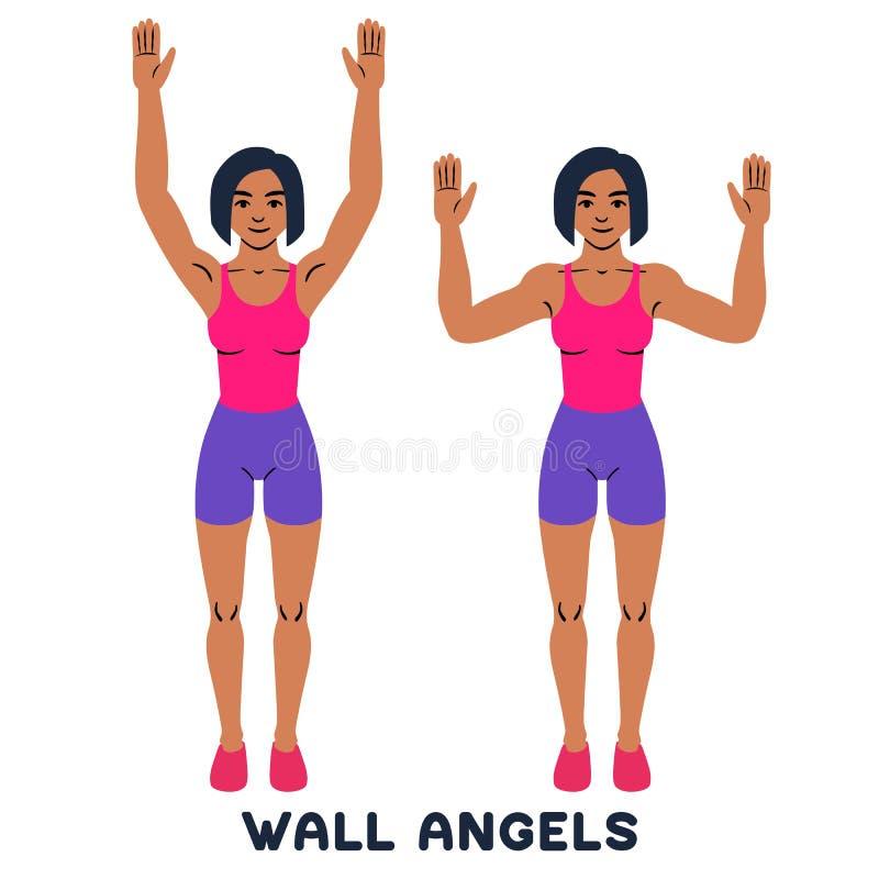 Wandengel Sport exersice Schattenbilder der Frau Übung tuend Training, bildend aus lizenzfreie abbildung