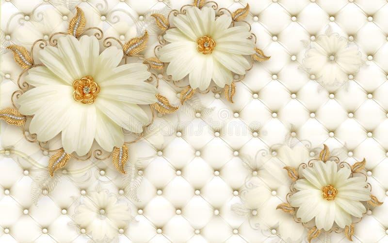 Wandentwurf der Tapeten-3D mit den Blumen- und geometrischen Gegenständen Goldkugel und den Perlen, purpurrote Blumen der Goldsch stockfoto