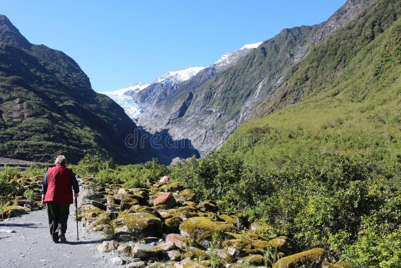 Wanderer auf Fußweg zu Franz Josef Glacier, NZ lizenzfreie stockbilder