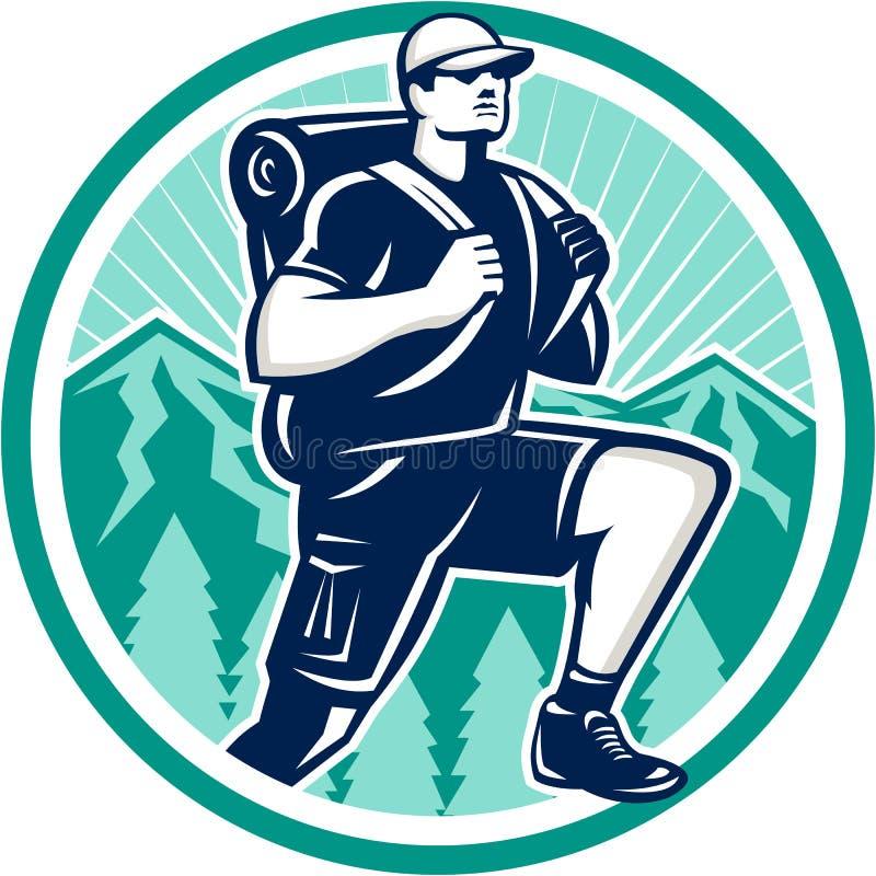 Wanderer, der den Berg Retro- wandert lizenzfreie abbildung
