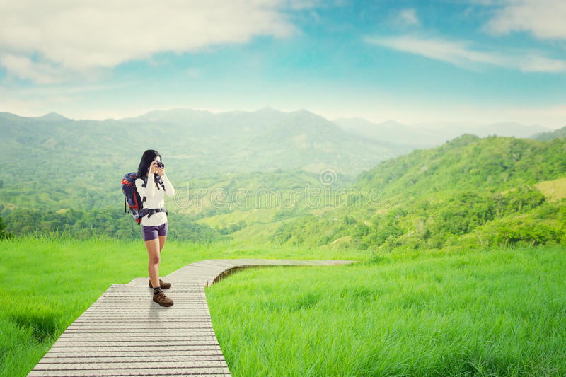 Wanderer, der Foto auf dem hölzernen Weg macht lizenzfreie stockbilder
