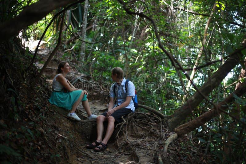 Wanderer, die Waldfluß, Paartrekking genießt das Abenteuerwandern erforschen lizenzfreie stockfotos