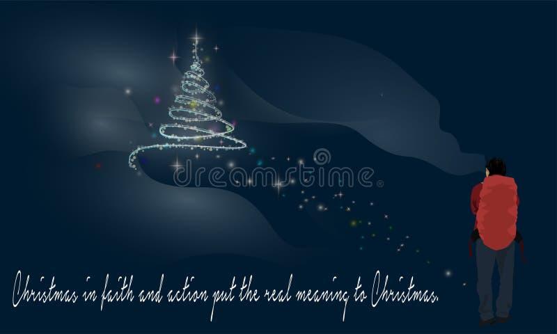 Wanderer-und Weihnachtsbaum und Wörter von Klugheit vektor abbildung