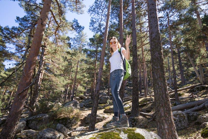 Wandererfrau auf einem großen Felsen im Wald mit Siegeszeichen in der Hand stockfotografie