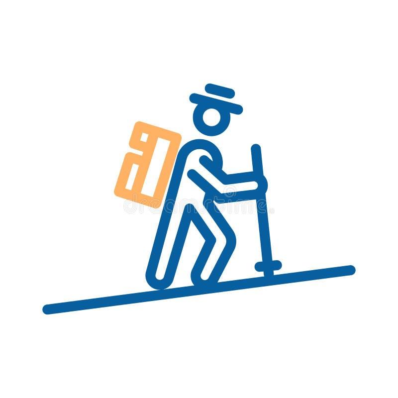 Wanderermann, der die geht Berge draußen, kletternd Vector dünne Linie die Ikonenillustration, die mit Abenteuer, Tätigkeit im Fr stock abbildung