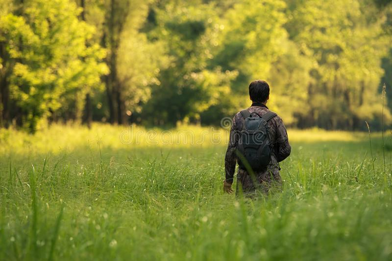 Wanderermann, der in die Natur geht stockbild
