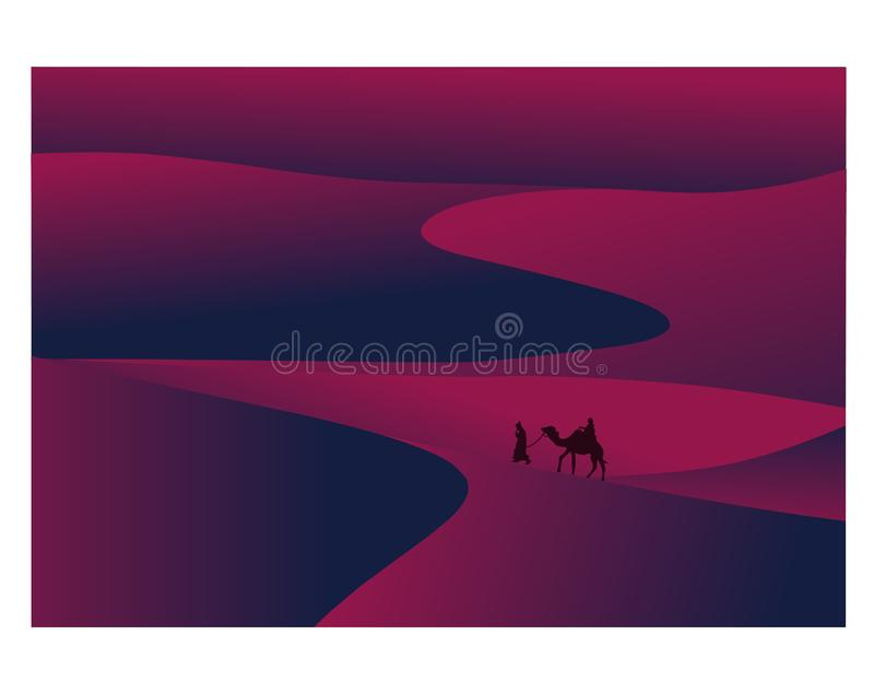 The wanderers and desert. Vector editable file as eps royalty free illustration
