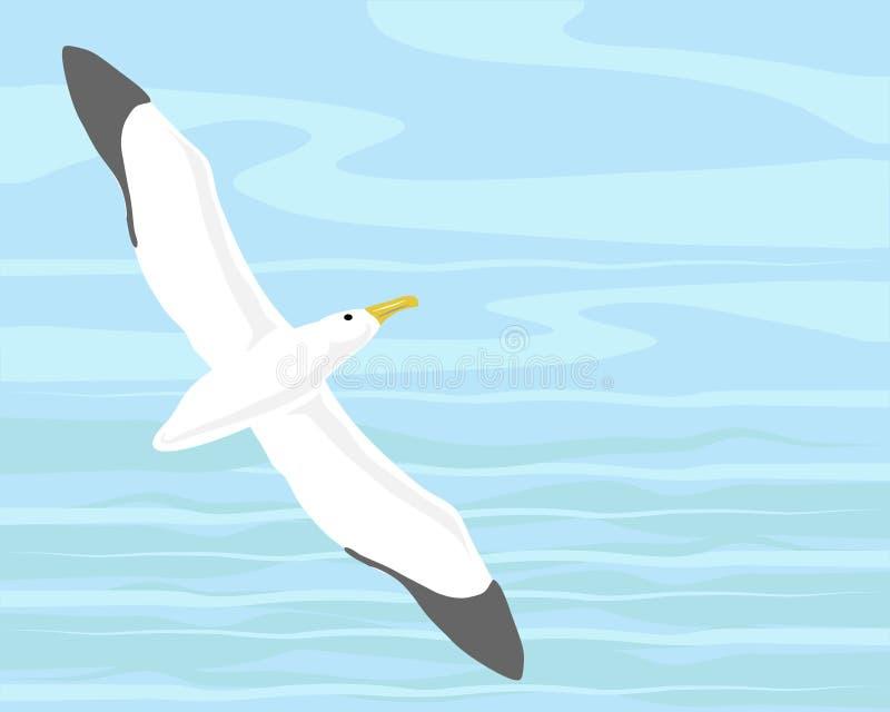 Wandering albatross. A hand drawn illustration of a wandering albatross gliding over the ocean vector illustration