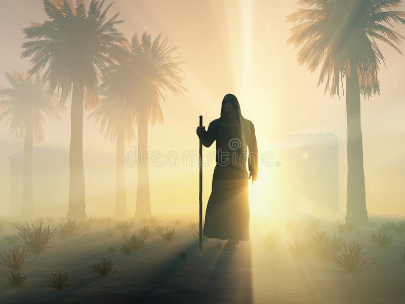 Download Wandering monk at sunrise stock illustration. Image of israel - 28992606