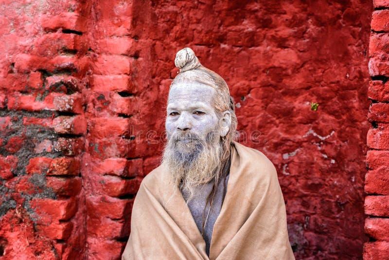 Wandering Shaiva sadhu (holy man) in ancient Pashupatinath Temp royalty free stock photos