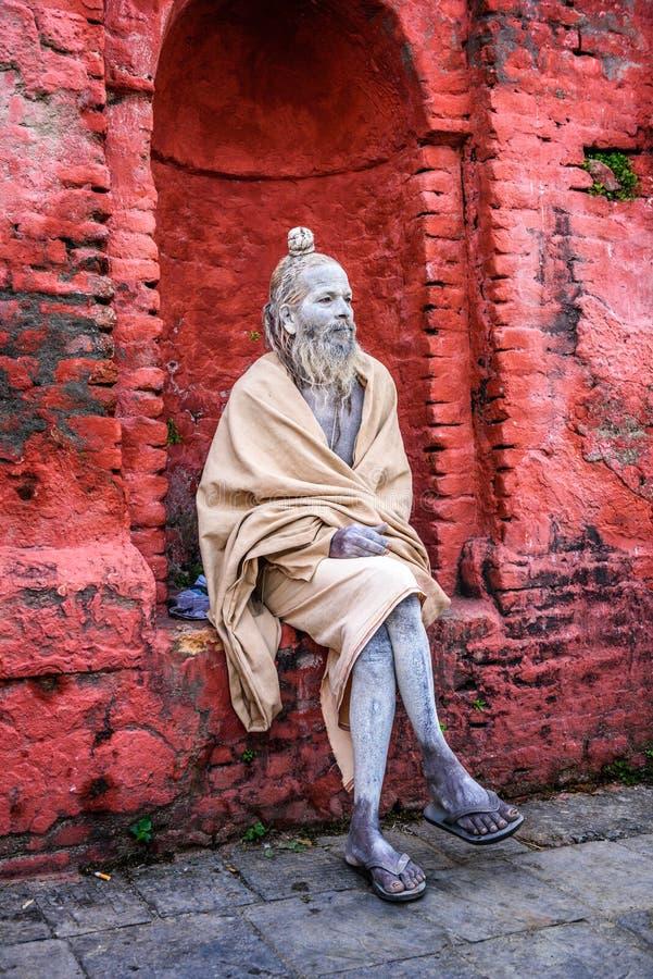 Wandering Shaiva sadhu (holy man) in ancient Pashupatinath Temp stock photography