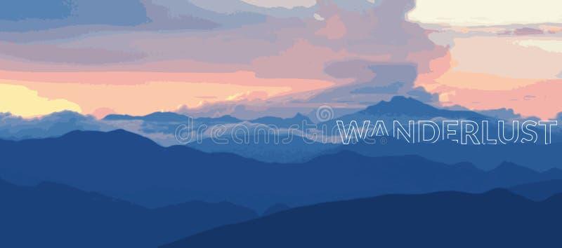Wanderlust захода солнца бесплатная иллюстрация