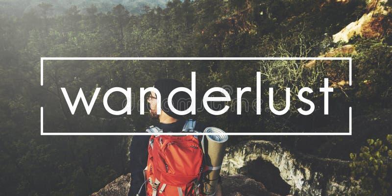 Wanderlust-Ausflug-Reise-Ferien-Konzept stockbilder