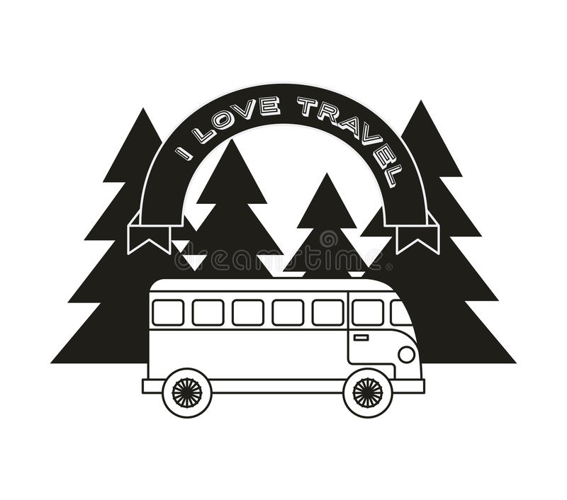 Wanderlust spirit design. Wanderlust design with bus and trees icon. black and white design. illustration stock images