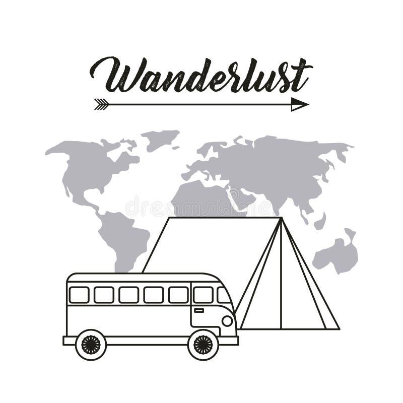 Wanderlust spirit design. Wanderlust design with bus and world map icon. black and white design. illustration stock photo