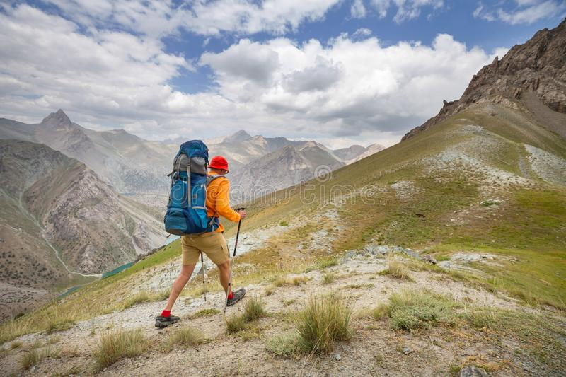 Hike in Fann mountains stock photography