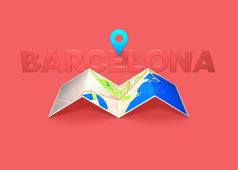 Wanderlustkonzept, das in Barcelona-Ausbreitenkarte reist lizenzfreie abbildung