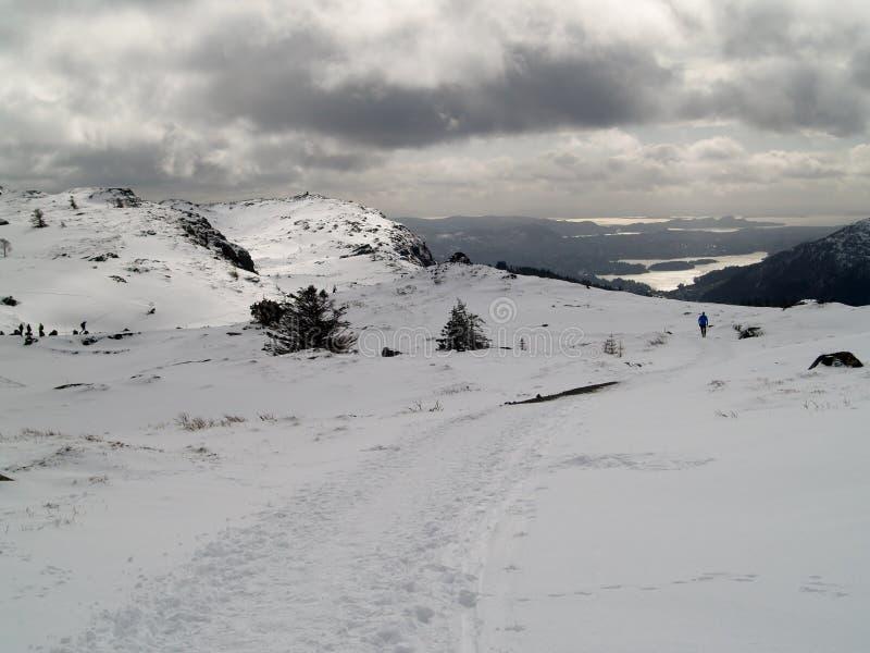 Wandern auf Winter lizenzfreie stockfotos