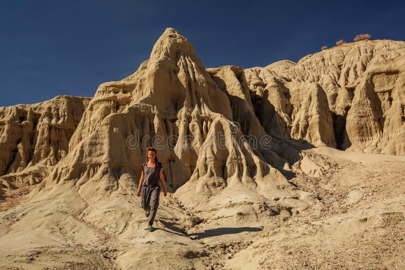 Wandern in der Artist-Palette Wahrzeichen im Death Valley Nationalpark, Geologie, Sand stockfoto