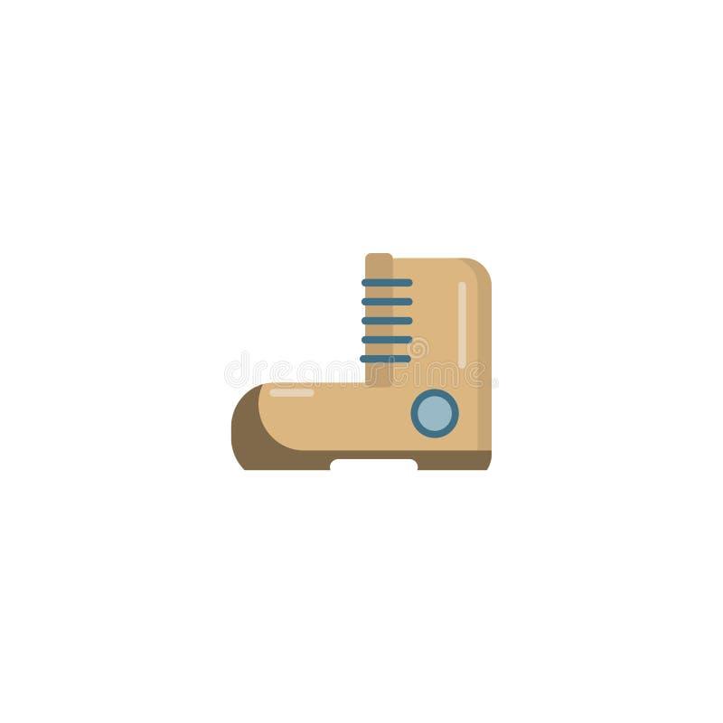 Wandern der flachen Vektorikone des Stiefels Kampierendes Einzelteil lizenzfreie abbildung