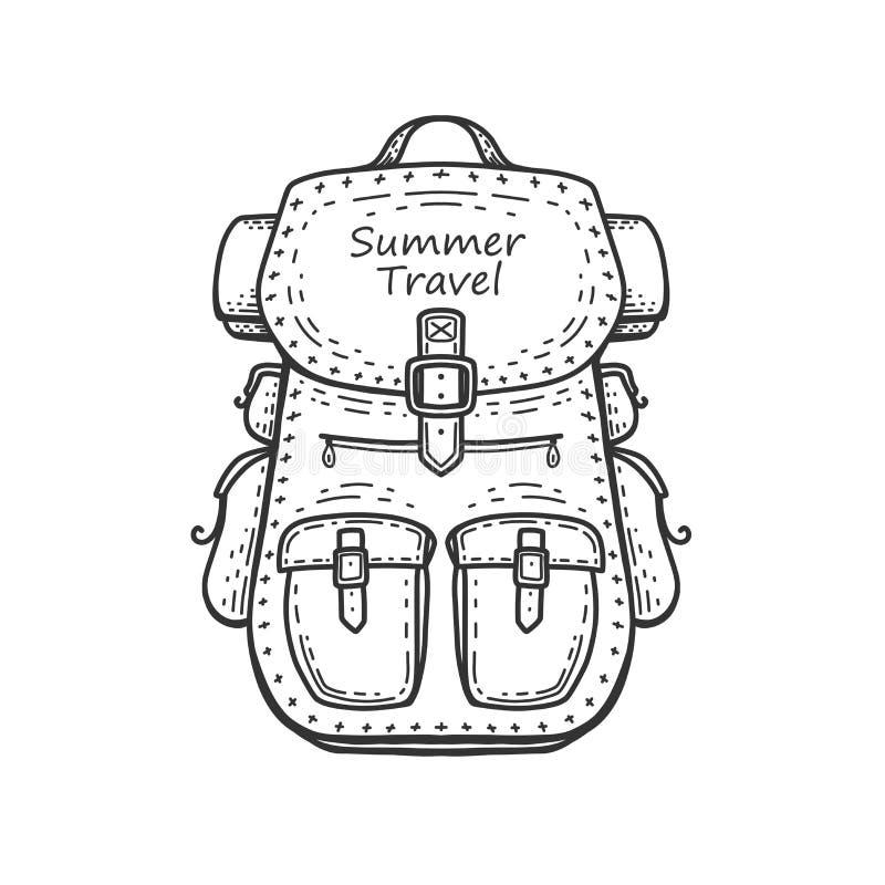 Wandern des Rucksacks Junge Frau auf dem Strand von Formentera-Insel lizenzfreie abbildung