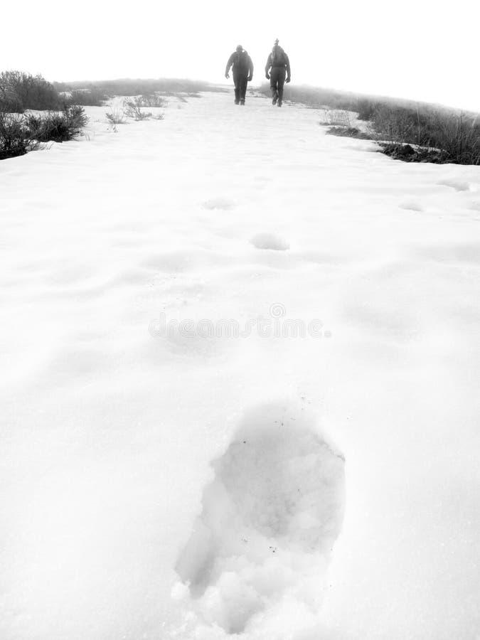 Wandern eines Berges im Nebel lizenzfreie stockfotos