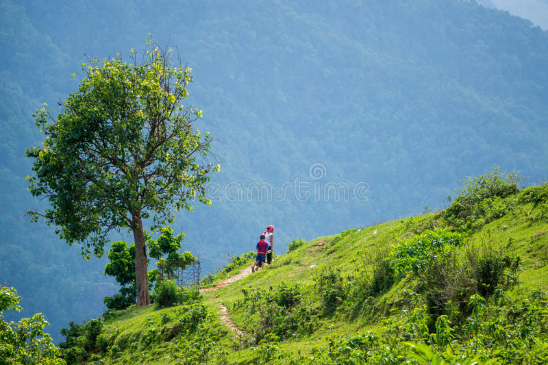 Wandern in Pokhara stockbilder