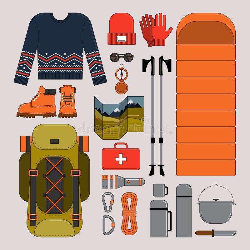 Wandern und Trekkingsvektorillustration stock abbildung
