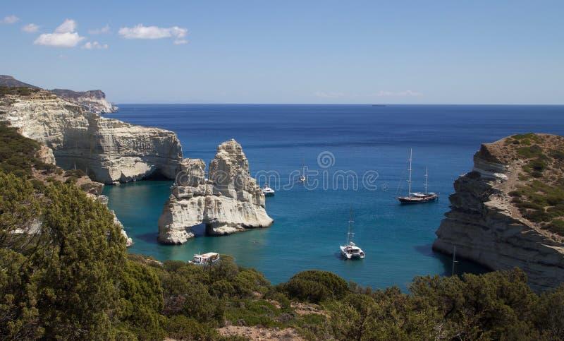 Wandern zu adleräugiger Ansicht Santorini-Strand-Griechenlands lizenzfreie stockfotografie
