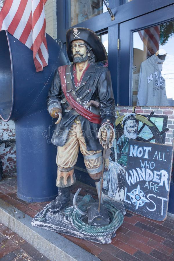 Wandernder Pirat in Portland Maine lizenzfreies stockfoto