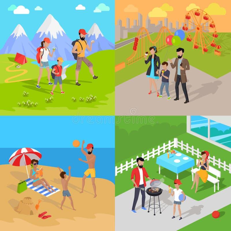 Wandernder und Vergnügungspark Familienurlaub-Grill lizenzfreie abbildung