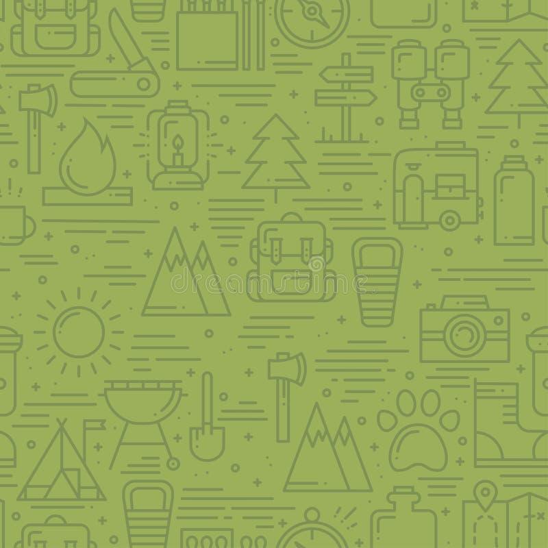 Wanderndes und kampierendes nahtloses Muster in der Linie Art Lager-Abenteuer-Thema im Freien Auch im corel abgehobenen Betrag Hi vektor abbildung