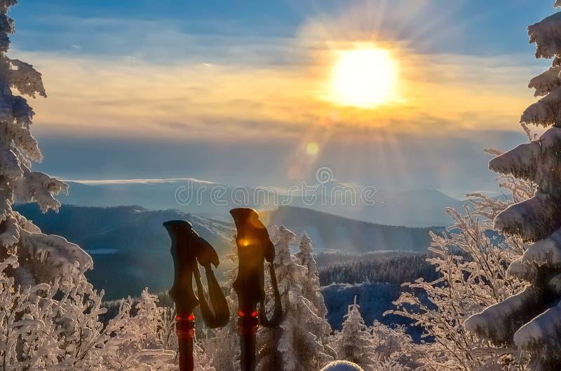 Wanderstöcke in einer schönen Winterlandschaft lizenzfreie stockfotos