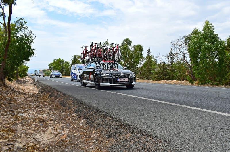 Wanderung Team Car La Vuelta España lizenzfreie stockbilder