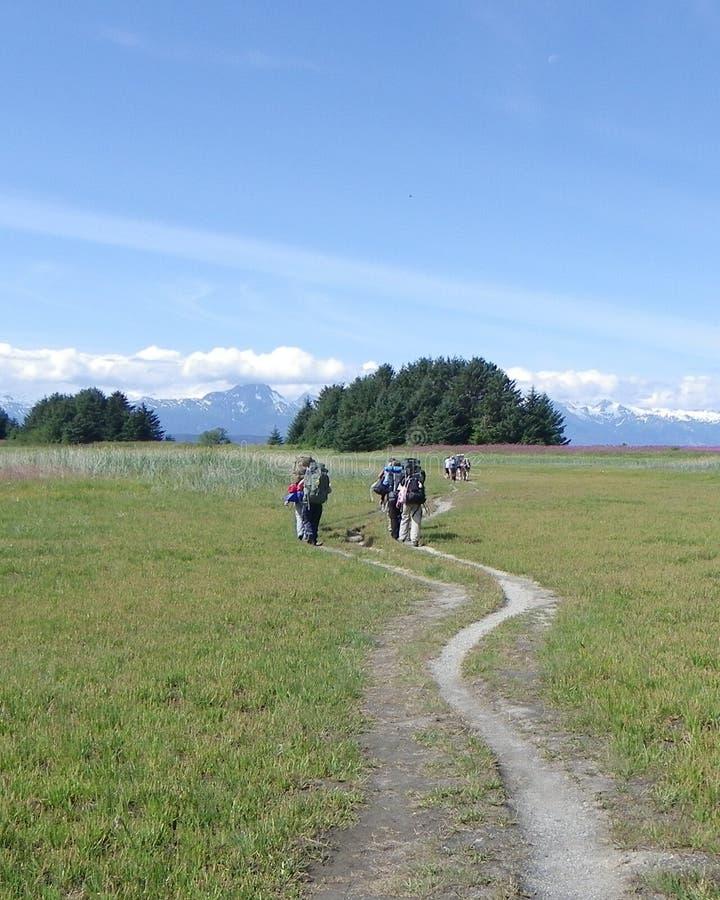 Wanderungs-Wiesenberge 5 der Gruppe wandernde lizenzfreie stockbilder