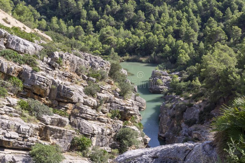 Wanderweg Caminito Del Rey Ansicht von Schlucht von Gaitanes in EL Ch lizenzfreies stockbild