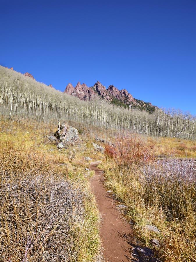 Wanderweg in kastanienbrauner Wildnis Bell Snowmass, USA lizenzfreie stockfotos
