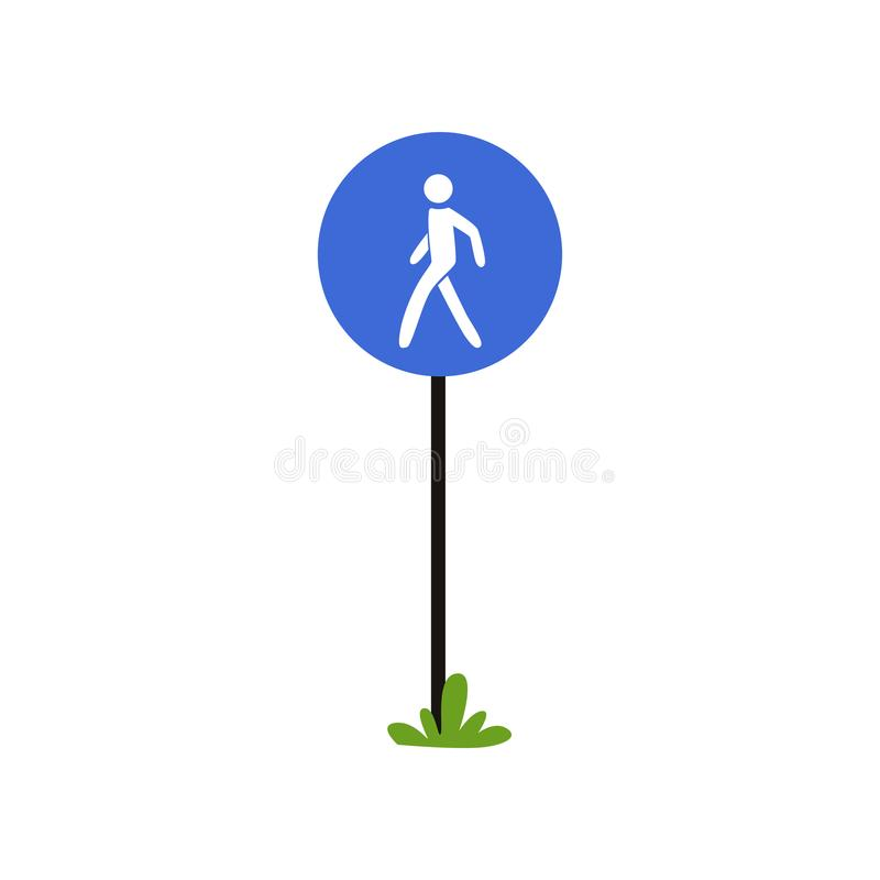 Wanderwegzeichen auf metallischem Pfosten Großer blauer Kreis mit Schattenbild des Menschen Flaches Vektordesign für infographic lizenzfreie abbildung