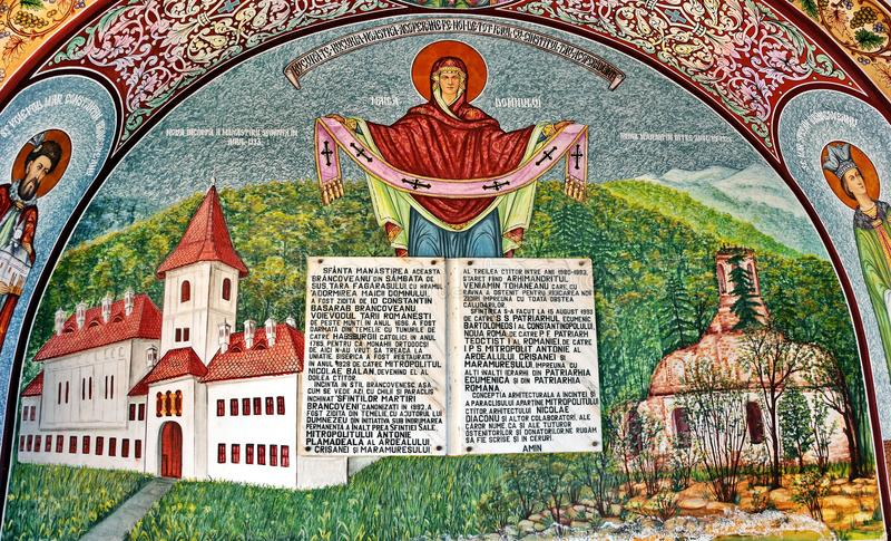 Wandfresko am Kloster lizenzfreie stockfotos