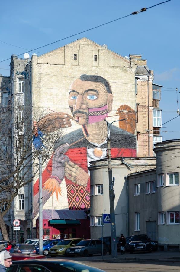 Wandgemälde auf einem Gebäude in Kiew stockfotos