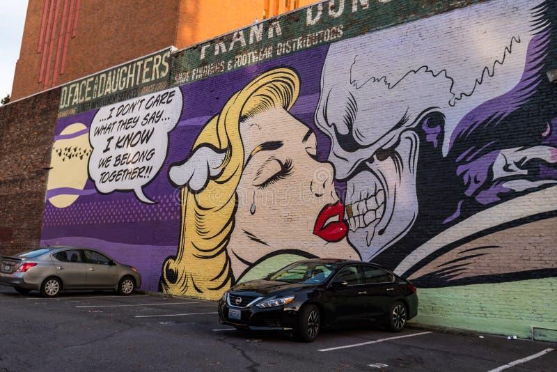 Wandgemälde durch Künstler D Gesicht in der Belltown-Nachbarschaft lizenzfreies stockfoto