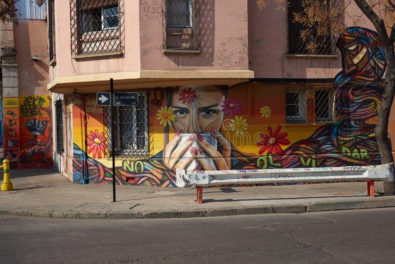 Wandgemälde von Barrio Yungay lizenzfreie stockfotos
