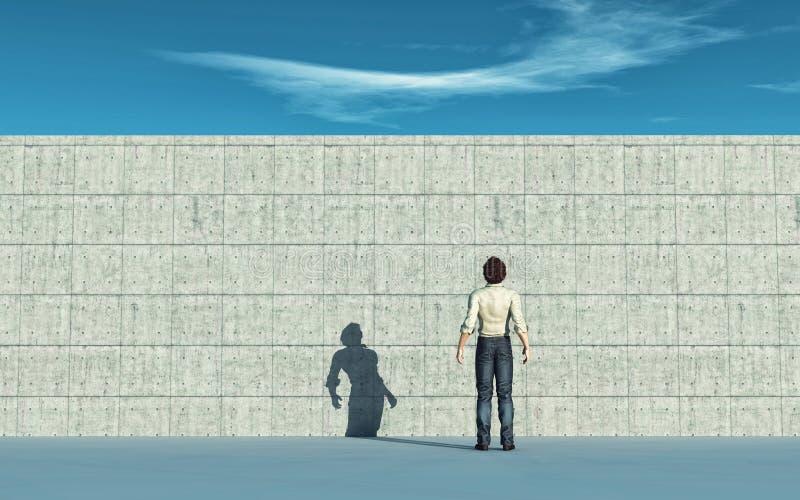 Wandhindernis Mann, der oben zur gro?en Wand schaut lizenzfreie abbildung