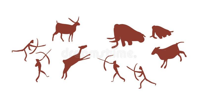 Wandkunst of grotschildering die groep of stam van de mensen of de jagers afschilderen die van de Steenleeftijd deers en mammoete stock illustratie