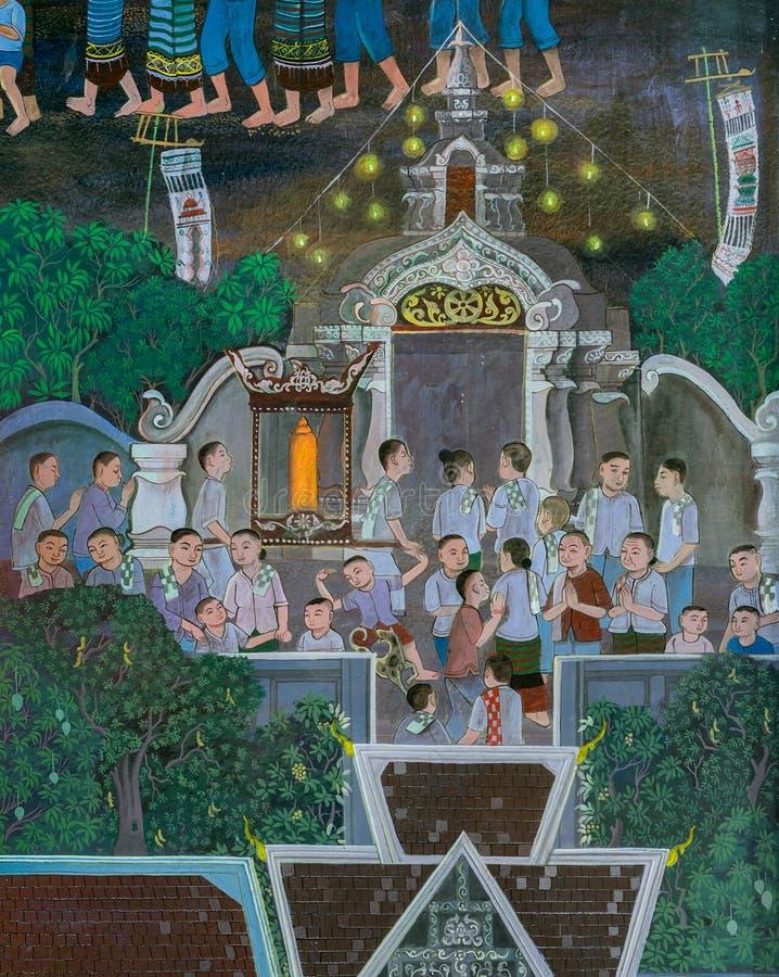Wandmalerei alter thailändischer Lanna-Art des buddhistischen Festivals stockbild