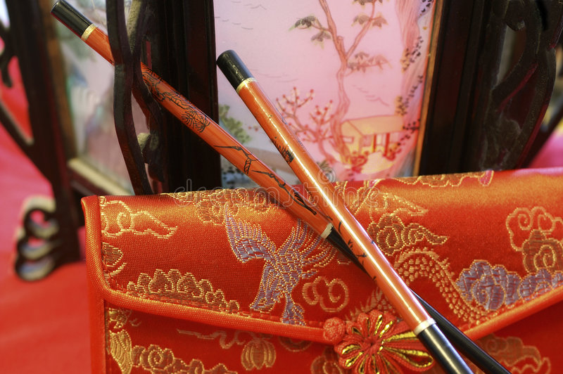 Wands. Chine style with wands royalty free stock photos