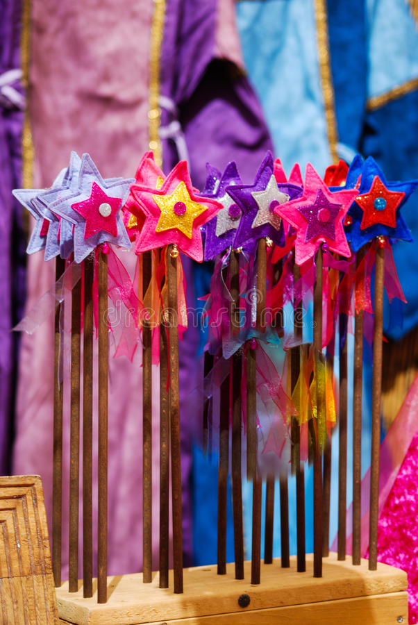 Wands magics. Handmade magic wands for girls royalty free stock photo