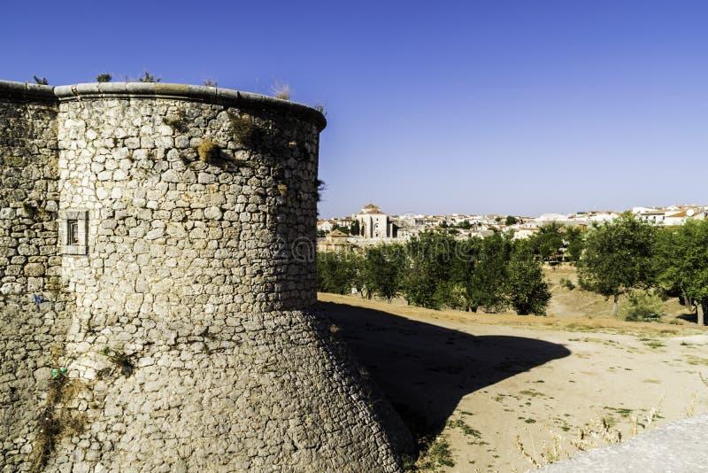 Wandschloss und Ansicht O Chinchon, nahe Madrid spanien stockfotografie