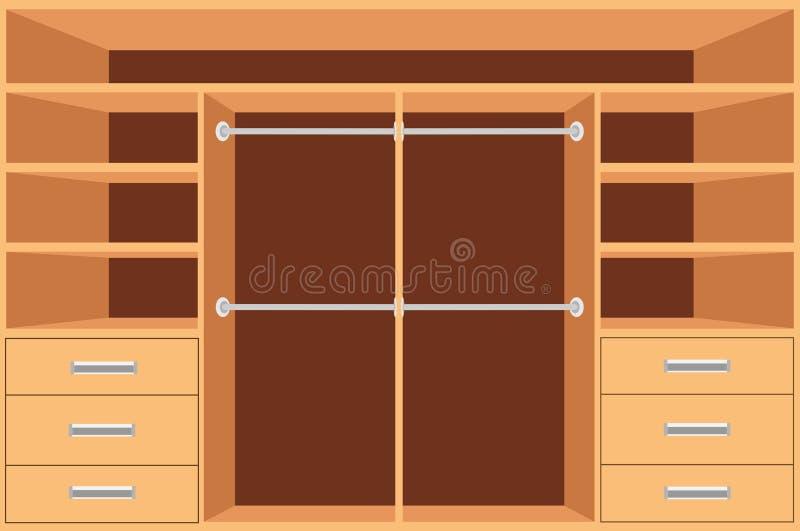 Wandschrank, Garderobe mit Regalen und Fächer Leerer Schrank, Innenarchitektur der Möbel, Garderobenraum, Vektorillustration lizenzfreie abbildung